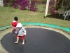 Eden and Andy on the Trampoline