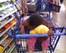 Eden sleeping in shopping cart at Meijer