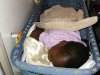 Sleeping in the bassinet on the plane