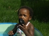 Eden playing in her pool